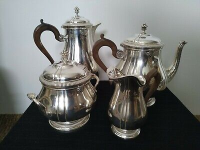 Antique 4 pieces French Sterling Silver Tea Coffee Service Boin Taburet