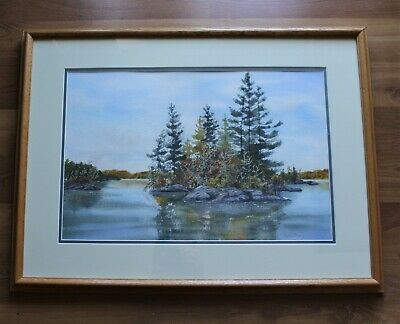 "Framed Canadian Watercolour Painting - ""Fall Beauty"" Buckhorn Lake, Ontario"