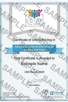 Care Certificate - Handling Information in a Care Setting - CPD Approved