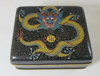 Antique Chinese Small Cloisonne Gilt Bronze Dragon Jewelry Cigarette Box
