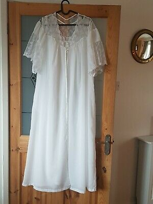 Vintage YVES SAINT LAURENT white Cotton And Lace Nightdress And Gown 80/90's YSL