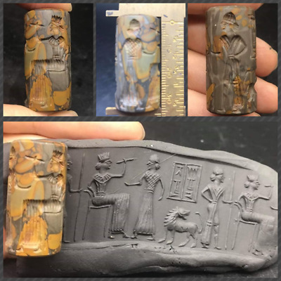 Rare Old Wonderfull Jasper Stone Roman Greek History Intaglio Cylinder Seal Bead