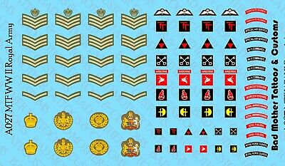 1//18 Scale Waterslide Decals USMC USN WW II for MTF and other WW2 figures