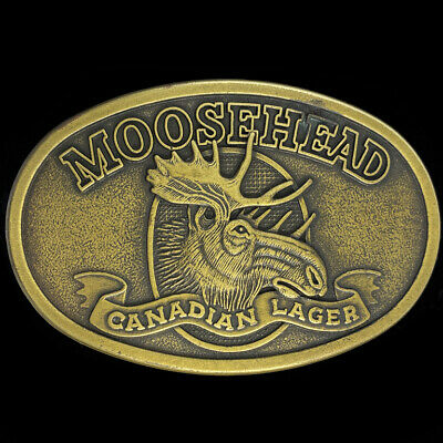 Moosehead Canadian Lager Beer Drinker Bar Canada Animal Art NOS Vtg Belt Buckle