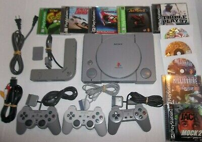 ORIGINAL PlayStation 1 PS1 Console BUNDLE 3 Controllers, Memory Card & 10 Games