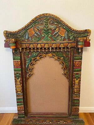 Antique Hand Carved Indian Mirror Frame