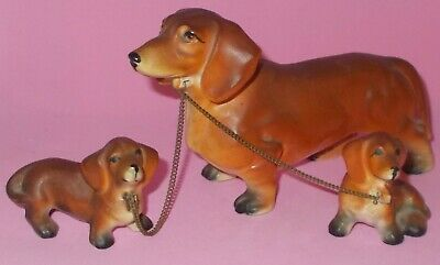 Vintage Dacshund Wierner Dog Family Mom Chained to 2 Pups Made in Japan