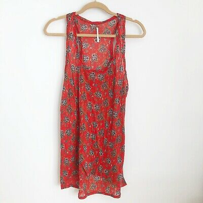 Free People Size Large Red Floral Print Tank Top Womens Flowy Scoop Neck