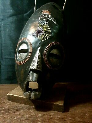 Mask African Carved Wood Tribal Wall Hand Vintage Art Wooden BIG  mask 1234