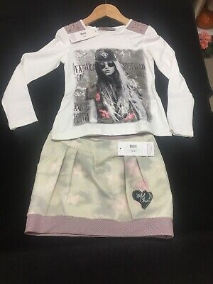 Kids Girls Army Flower Skirt And Fashion Girl Top Available Sizes 6-14 Years