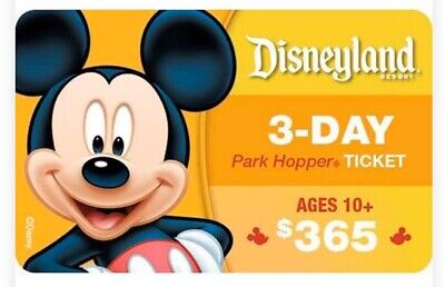 Disneyland 3-Day park hopper ticket Age 10+ Email Delivery