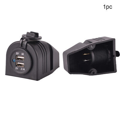 12V Car Auto Boat Socket Dual USB Port Charger Adapter Surface Mount