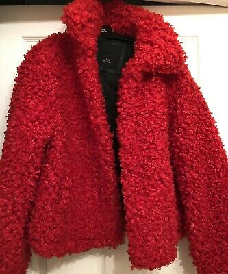 River Island Red Borg Teddy Curly Faux Fur Coat Jacket Size Large 14/16 New
