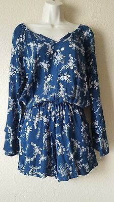 Fraiche by J Womens Floral Gauze Romper Size Small S Green V Neck New R001