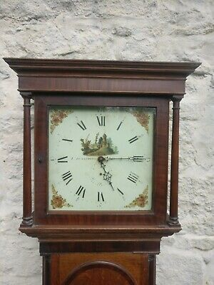19thC Longcase Grandfather Clock 30hr SQ Painted dial, oak mkr Armstrong lincs