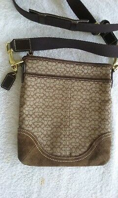 Coach Signature C Crossbody Shoulder Bag Jacquard Fabric and Suede Brown and Tan