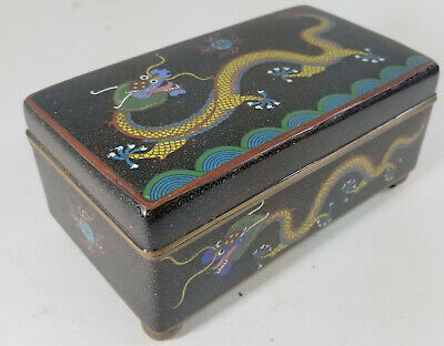 Antique Chinese Cloisonne Enamel Cigar Cigarette Box Dragon Flaming Pearl