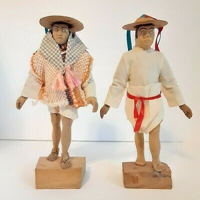 Two Latin American Wooden Carved Figures with Hats and Clothes