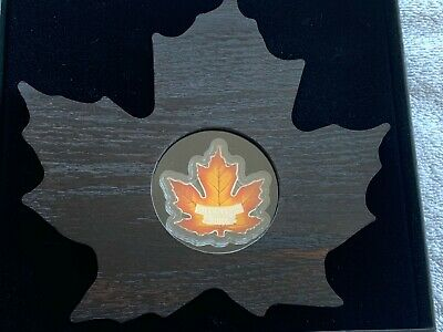 2016 Canada 1 oz Silver $20 Proof Maple Leaf Shaped Coin with Display Case