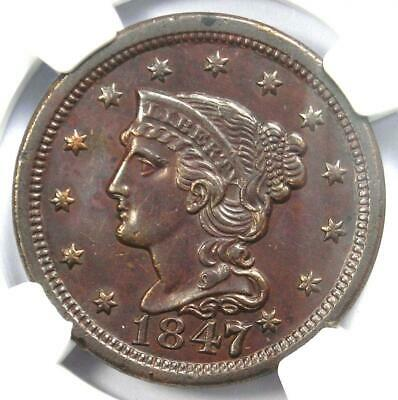 1847/7 Braided Hair Large Cent 1C Coin (Large 7 over Small 7) - NGC AU Details