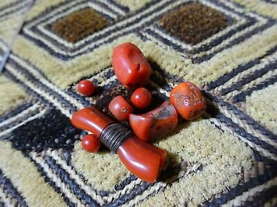 Antique Tribal Bedouin Mediterranean Blood Red Coral Beads Private UK Collection