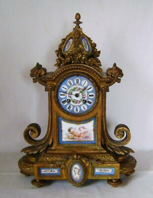 C19th  French Gilded Mantle Clock with Cherub Decorated  Porcelain Panels