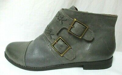 Lucky Brand gray Leather ankle Zip boots w/ buckles Size Sz 10