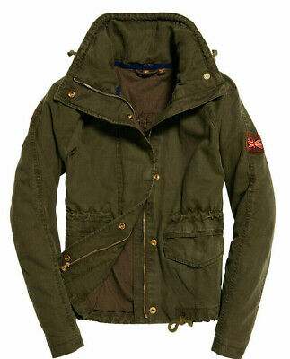 WOMENS SUPERDRY ROOKIE Field Crop Parka Jacket Coat Olive