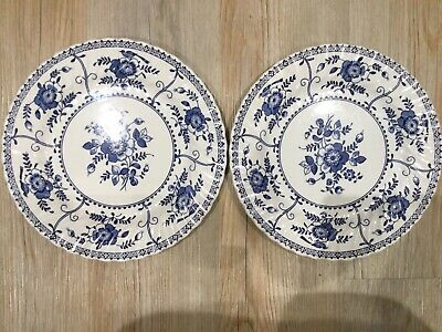 """2 X JOHNSON BROTHERS INDIES 10"""" DINNER PLATES Pair Vintage Blue And White"""