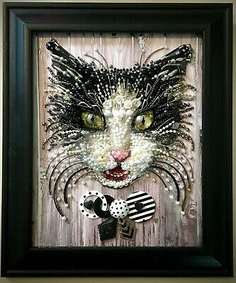 Jewelry Framed Black & White Cat Portrait Art Gift Decor