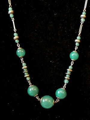 Vintage Art Deco Czech Machine Age silver metal & jade green glass necklace 30s
