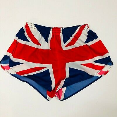 Vintage International Sports British Flag Mesh Super Short Running Shorts LG