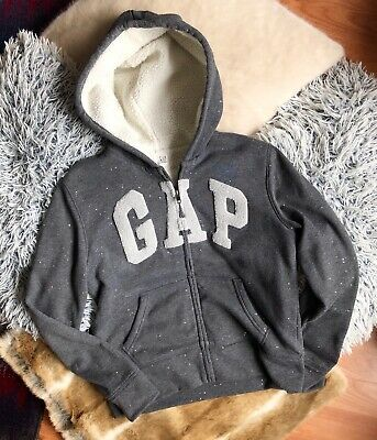 Gap Girls Grey Glitter Warm Zipped Hoodie Jumper Cosy Age 14-16 Years Vgc