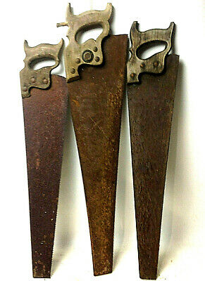Lot of 3 x ANTIQUE SAWS Wooden Handle Rustic Old Tools
