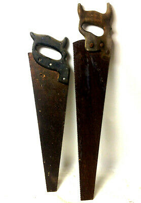 Lot of 2 x ANTIQUE SAWS Wooden Handle Rustic Old Tools