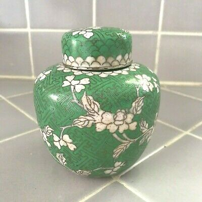 "Antique Chinese Cloisonne Ginger Jar Marked  CHINA 4.5"" Enameled Floral Green"