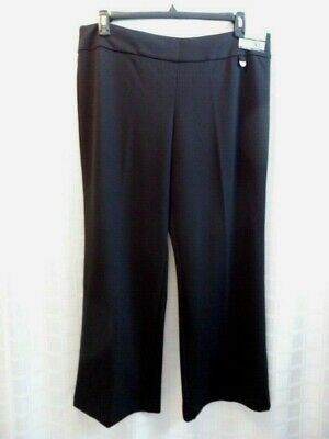 NWT New York & Co. Sz XL Petite city knit Wide Leg Mid Rise Black Pants Stretch