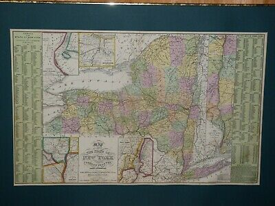 Large 1855 Hand-Colored Cowperthwait Map of New York w Census & Almanac Details!