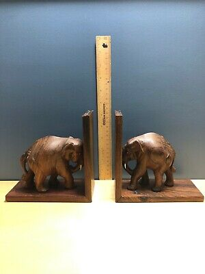 Rare Vintage Wooden Hand Carved Elephant  Bookend Book Holder Collectable Boho