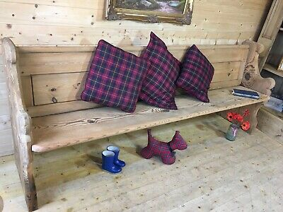 Rustic antique large solid pine church pew settle monks bench wooden hall seat
