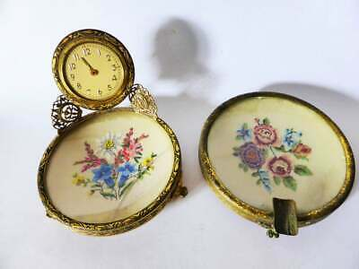 Antique Petit Point Brass Vanity Set, Tapestry Ring Dish with Clock & Ashtray