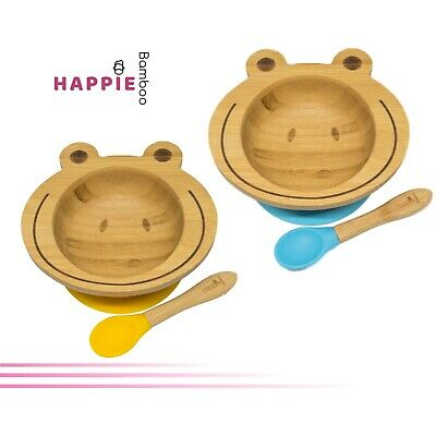 Natural Bamboo Frog Kids Suction Bowl & Spoon - 6 Colours