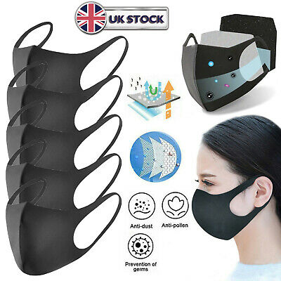 1-20Pcs PM2.5 Face Mask Mouth & Nose Protection Reusable Anti-dust Cover UK
