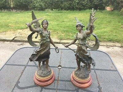 Pair Of Antique Spelter Figurines Entitled Victoire And Renommee