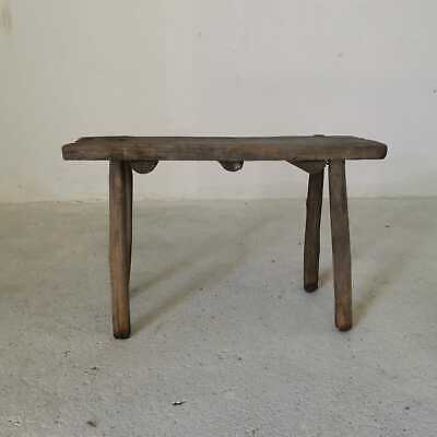 Antique Hand-Carved Wooden Milking Stool or Small Table, Rustic Farmhouse Seatin