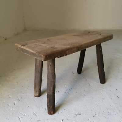 Antique Short Hand-Carved Wooden Milking Stool or Small Table, Rustic Farmhouse