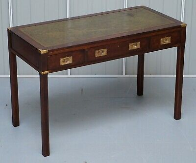 Kennedy Harrods London Mahogany Leather Military Campaign Writing Table Desk