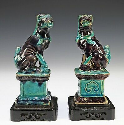 Pair of Antique Chinese Pottery Dog Statues in Blue and Aubergine - Ming Dynasty