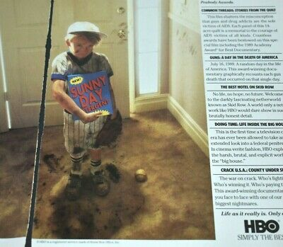 1991 Vintage Print Ad HBO Controversial Documentary Sunny Day Dirty Kid Baseball