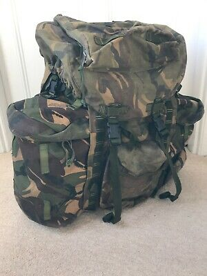 Army Issue Long Convoluted Back Bergen Rucksack DPM Camo 120L Side Pouch Grade 1